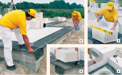 Технология укладки газобетонных блоков на клей