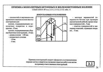 Допуски отклонений при монолитном строительстве