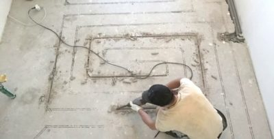 Штробление стяжки под теплый пол