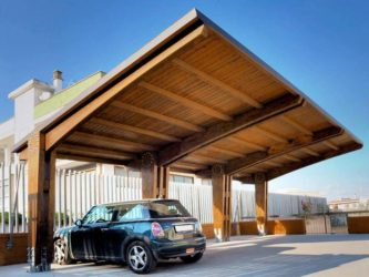 Строительство деревянного навеса для автомобиля